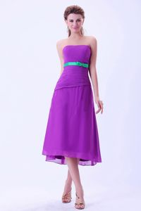 Chiffon Purple Tea-length Dama Dress with an Green Belt