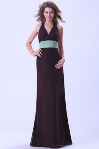 Halter Top Brown Backless Dama Dress With a Sash in Chiffon