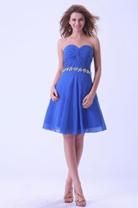 Sweetheart Royal Blue Knee-length Dama Gown With Appliques