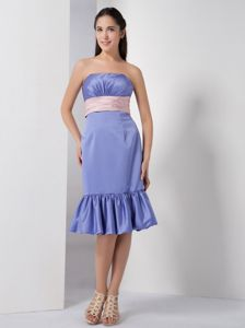 Column Strapless Dama Dress in Lilac with Belt and Ruches