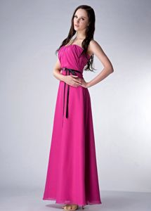 Pink Strapless Empire Ankle-length Chiffon Dama Dress with Sash