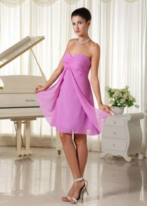 Sweetheart Empire Lavender Ruched Chiffon Knee-length Dama Dress