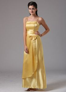Spaghetti Straps Yellow Column Ankle-length Dama Dress With Bow