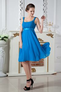 Teal Empire Straps Knee-length Chiffon Ruching Damas Dresses For Quince