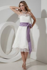 A-line Strapless ea-length Lace with Purple Bow Dresses For Damas