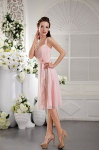 Baby Pink Straps Tea-length Chiffon Dama Dresses with Hand made Flower