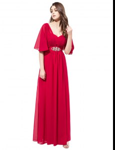 Coral Red Satin Zipper V-neck Half Sleeves Floor Length Mother of Groom Dress Beading