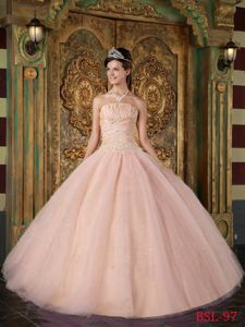 Desirable Tulle Quinceanera Dress with Ruched and Beaded Bodice
