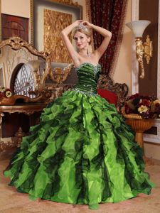 Floor-Length Sweetheart Ruffled Beading Dresses for 15 with Ruches