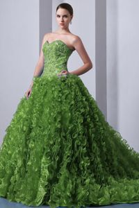 Court Train Ruffled Olive Green Quince Dresses with Rhinestones