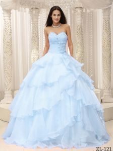 Sweetheart Light Blue Dresses for Quince with Flowers Ruffles