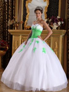 Appliqued White and Spring Green Ball Gown Dress for Sweet 15