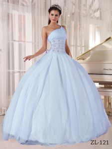 Noble Light Blue One Shoulder Sweet 16 Dress with Rhinestones