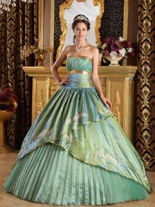 Perfect Strapless Embroidery Quinceanera Gown with Pleats Plus