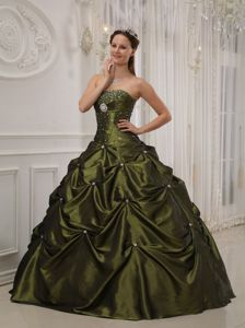 Excellent Olive Green Strapless Pick-ups Beading Quince Dresses