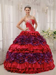 Desperate Housewives Colorful Multi-tiered Strapless Ruched Appliques Quinceanera Gowns