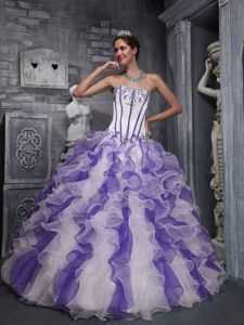 White and Lavender Ruffled Appliqued Quinceanera Party Dress