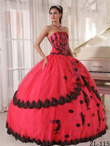 Attractive Coral Red Quinceanera Dress with Black Appliques