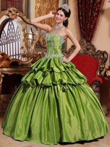 Olive Green Appliques Quinceanera Dress with Hand Made Flowers