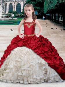 Perfect Straps Pick Ups White and Wine Red Sleeveless Organza and Taffeta Lace Up Pageant Dress for Teens for Quinceanera and Wedding Party