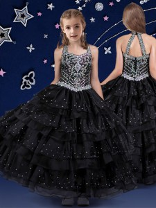 Black Organza Zipper Halter Top Sleeveless Floor Length Winning Pageant Gowns Beading and Ruffled Layers