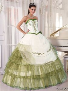 Oliver Green and White Sweetheart Quinceanera Dress by Satin and Organza