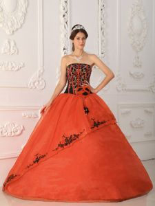 Rust Red and Black Corset Sweet Sixteen Dress with Appliques