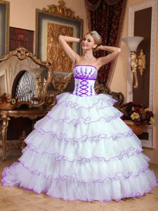 Appliqued White and Purple Dresses for 15 with Ruffled Layers