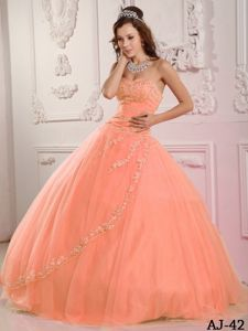 Classic Orange Red Ball Gown Appliqued Dresses for a Quince