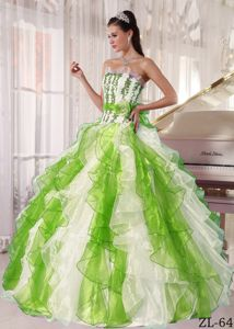 Special White Dress for Sweet 16 with Spring Green Decoration