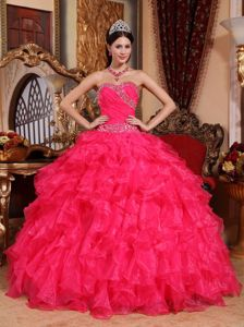 Perfect Beaded Ruffled Coral Red Quinceanera Dress Wholesale