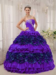Flattering Purple Sweet 15 Dress with Appliques and Ruffled Layers
