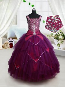 Square Dark Purple Sleeveless Floor Length Beading and Ruffles and Belt Lace Up Custom Made Pageant Dress