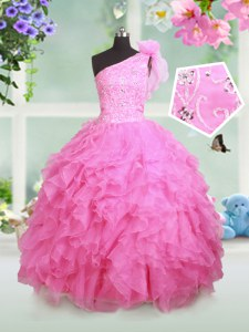 One Shoulder Sleeveless Floor Length Beading and Ruffles and Hand Made Flower Lace Up Glitz Pageant Dress with Rose Pink