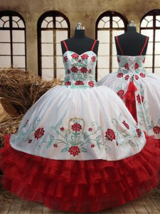 New Arrival Ruffled Ball Gowns Evening Gowns White and Red Spaghetti Straps Organza Sleeveless Floor Length Lace Up