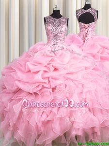 Fantastic See Through Organza Scoop Sleeveless Lace Up Beading and Ruffles and Pick Ups Quinceanera Gown inBaby Pink