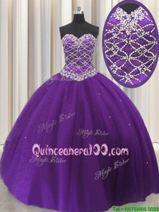 Admirable Sleeveless Tulle Floor Length Lace Up Quince Ball Gowns inEggplant Purple forSpring and Summer and Fall and Winter withBeading and Sequins