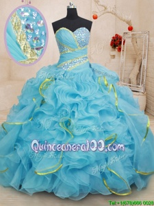Custom Designed Baby Blue Ball Gowns Organza Sweetheart Sleeveless Beading and Ruffles With Train Lace Up Sweet 16 Dresses Brush Train
