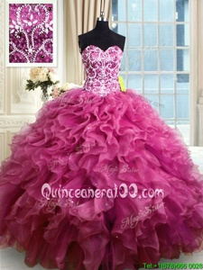 Low Price Floor Length Ball Gowns Sleeveless Fuchsia Ball Gown Prom Dress Lace Up