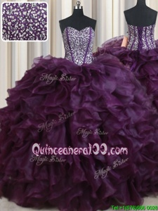 Fantastic Dark Purple Lace Up Sweetheart Beading and Ruffles Quinceanera Dresses Organza Sleeveless