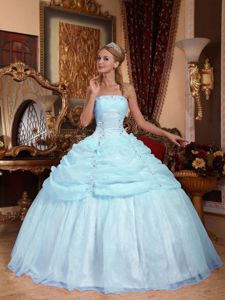 Beading and Pick ups Accent Organza Quinceanera Gown in Ligth Blue