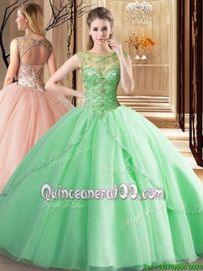 Simple Spring Green Ball Gowns Tulle Scoop Sleeveless Beading Lace Up Vestidos de Quinceanera Brush Train
