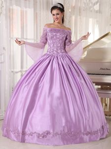 Lilac off Shoulders Sweet 15 Dresses with Long Fan Sleeves