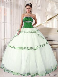 Impressive Corset Appliqued White and Green Quinceanera Dress