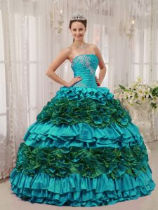 Laura Linney Teal and Green Ball Gown Sweet 15 Dresses with Ruffles Appliques