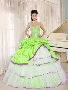 Multi-Colored Sweetheart Pleated Sweet 16 Dresses with Pick-ups
