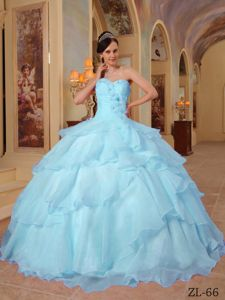 Beading and Ruffles Decorate Organza Dresses for 15 in Light Blue