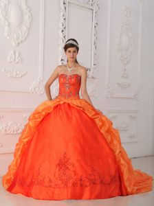 Bubbled 2014 Orange Red Quince Ball Gown Beaded in Low Price