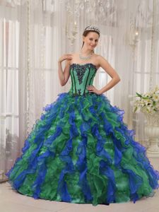 Multi-colored Puffy Sweetheart Ruffled Organza Britney Quinceanera Dress