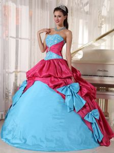 Bowknots Blue and Pink Quinceanera Dress Embroidery Pickups